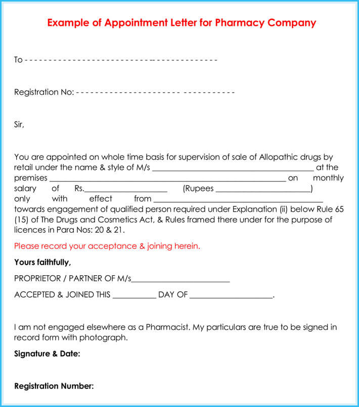 format of an appointment letter