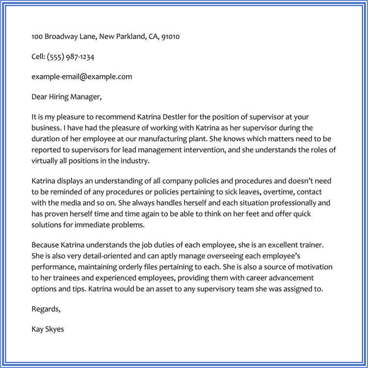 sample recommendation letter written by supervisor for