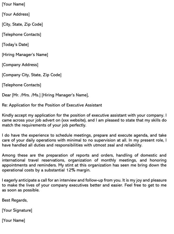 Executive Assistant Cover Letter Samples Email Examples