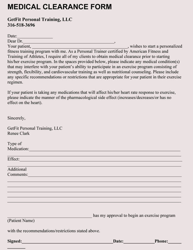 Exercise Medical Clearance Form