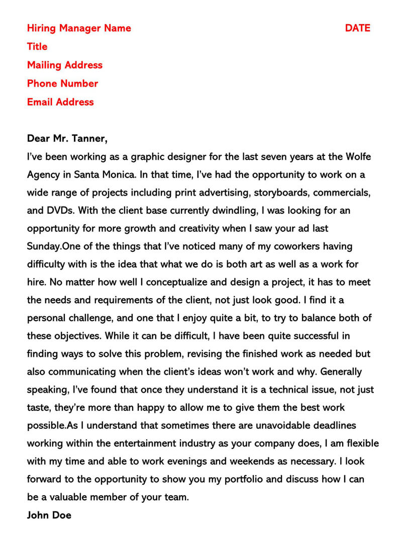 Experienced Graphic Designer Cover Letter