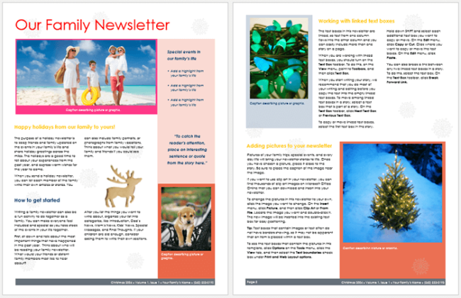 Family Newsletter Layout Template