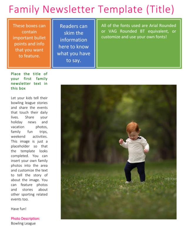 Family Newsletter Template for Word