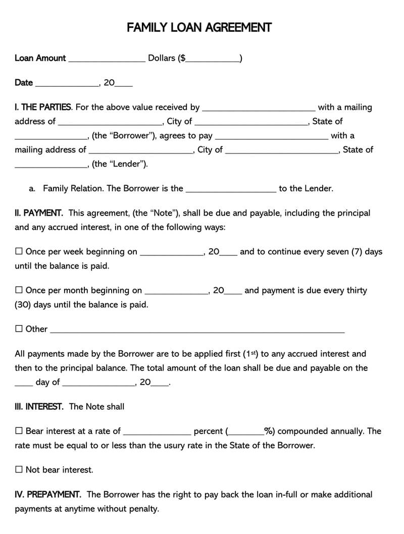 Free Family Loan Agreement Forms And Templates Word Pdf