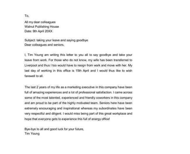 Sample farewell letter 9 docs for word and pdf farewell letter to coworkers word doc expocarfo