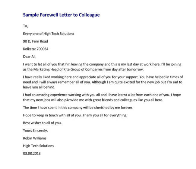 11 best farewell letter samples for boss client colleagues etc farewell letter to colleague expocarfo Gallery