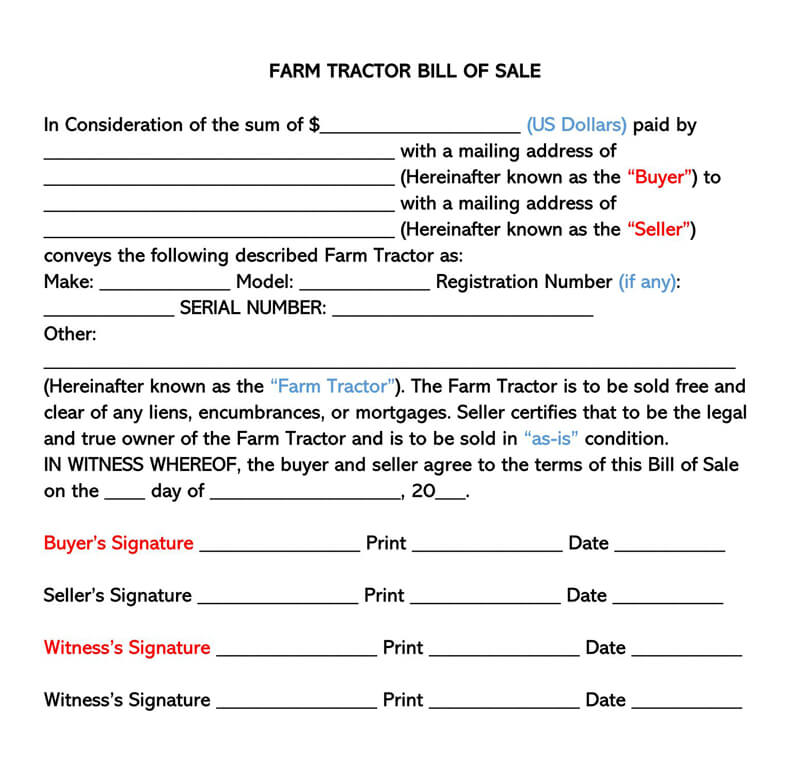 Farm Tractor Bill of Sale Form 03
