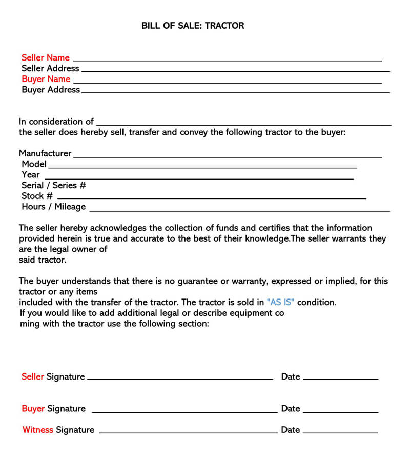Farm Tractor Bill of Sale Form 04Farm Tractor Bill of Sale Form 04