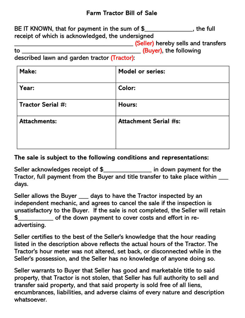 Free Tractor Bill Of Sale Forms Templates Word Pdf