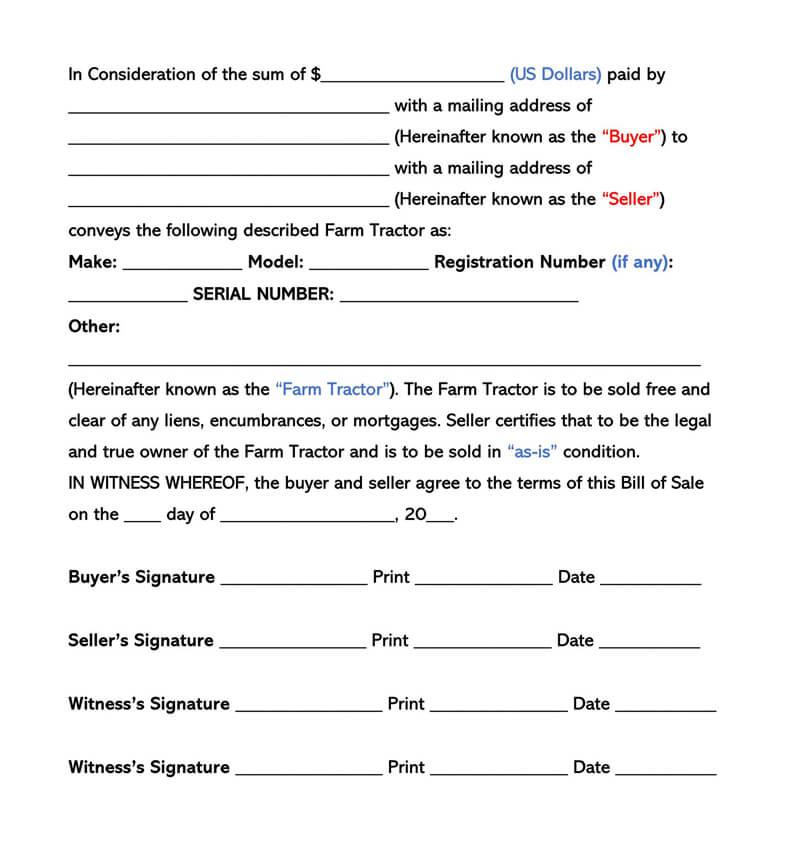 Farm Tractor Bill of Sale Form