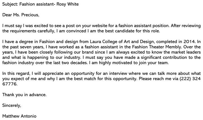 Fashion Assistant Cover Letter Sample And Email Example