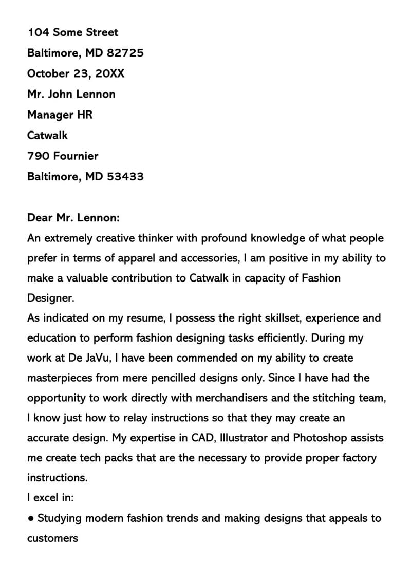 Fashion Designer Cover Letter Example