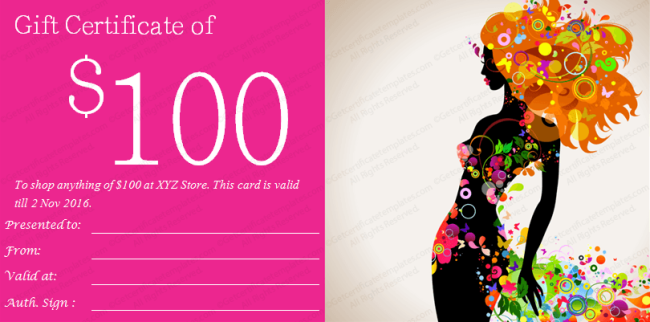 fashion girl gift certificate template preview
