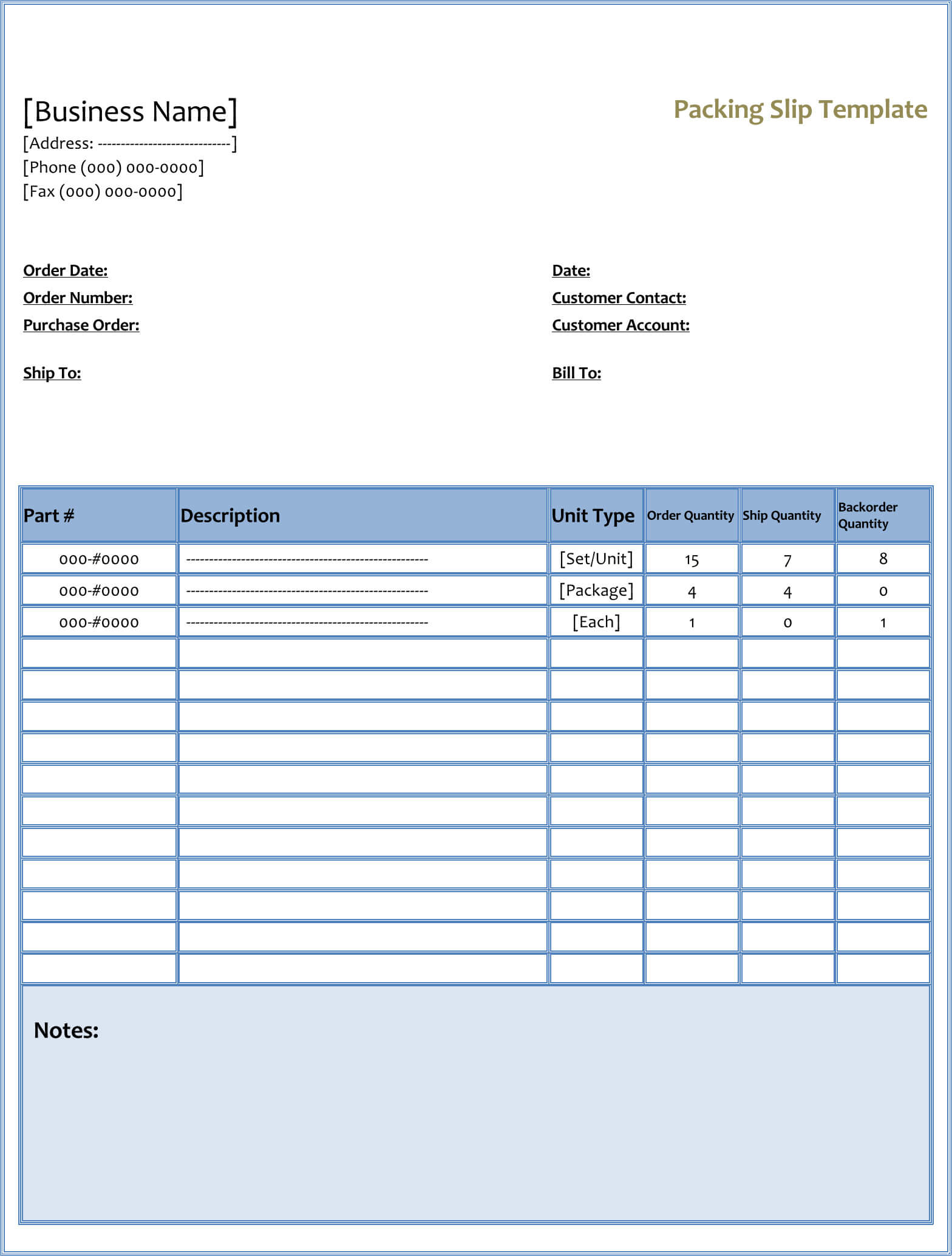 Fill able packing slip (Word)