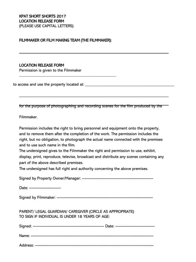 Film Location Release Form 09