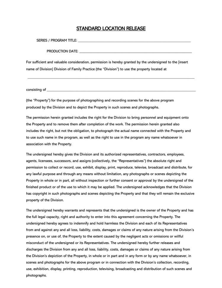 Film Location Release Form 10