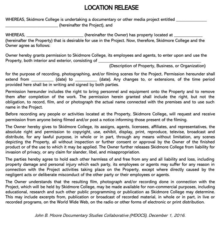 Film Location Release Form 15