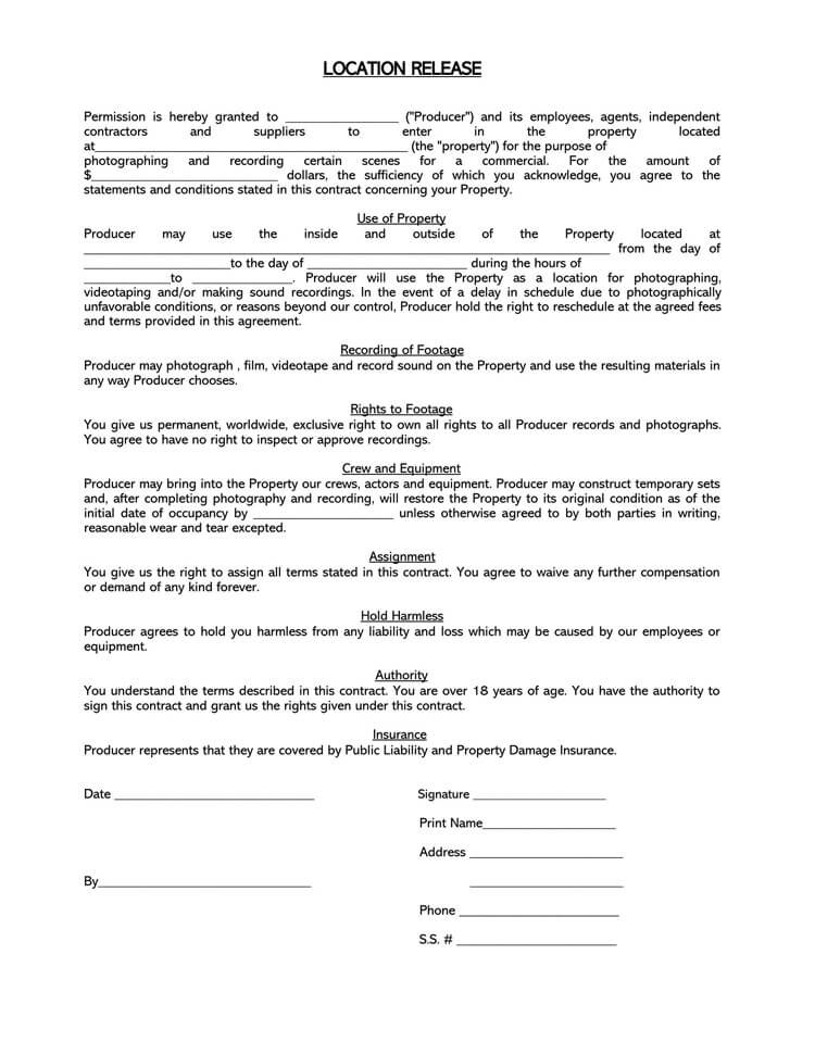 Film Location Release Form 16