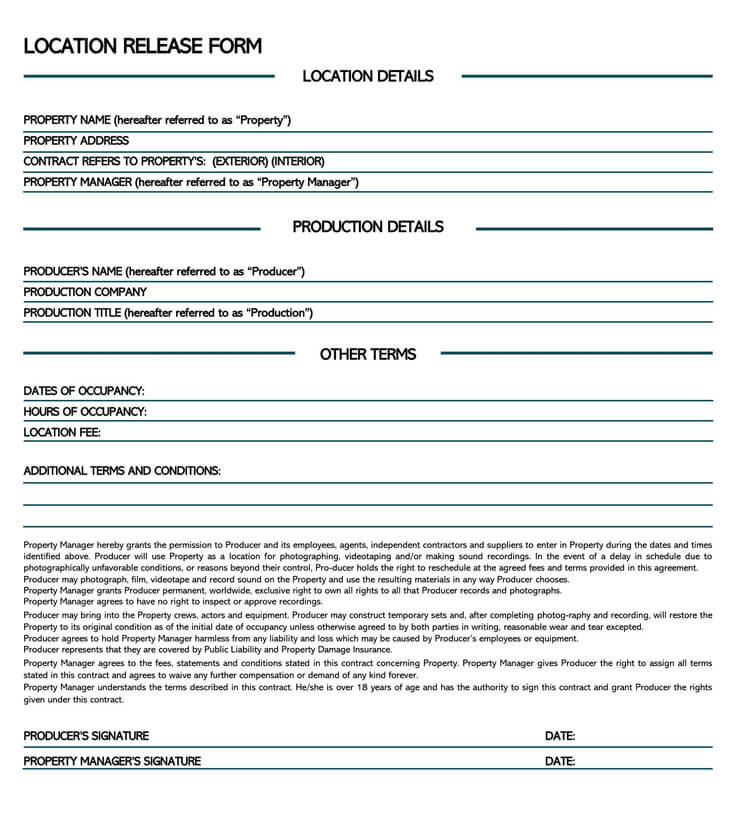 Film Location Release Form 17