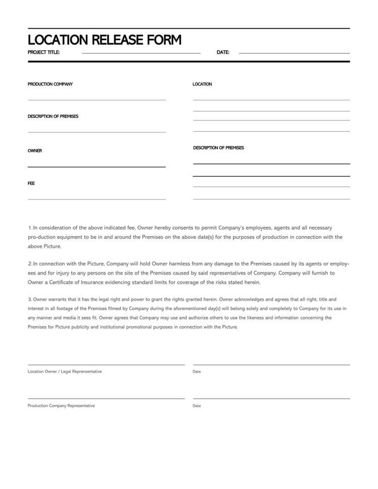 Film Location Release Form 19