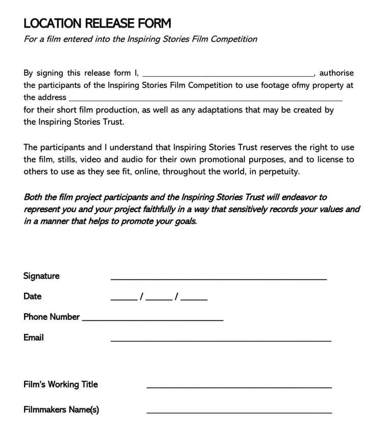 Film Location Release Form 21