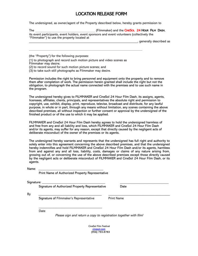 Film Location Release Form 22