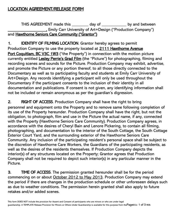 Film Location Release Form 24