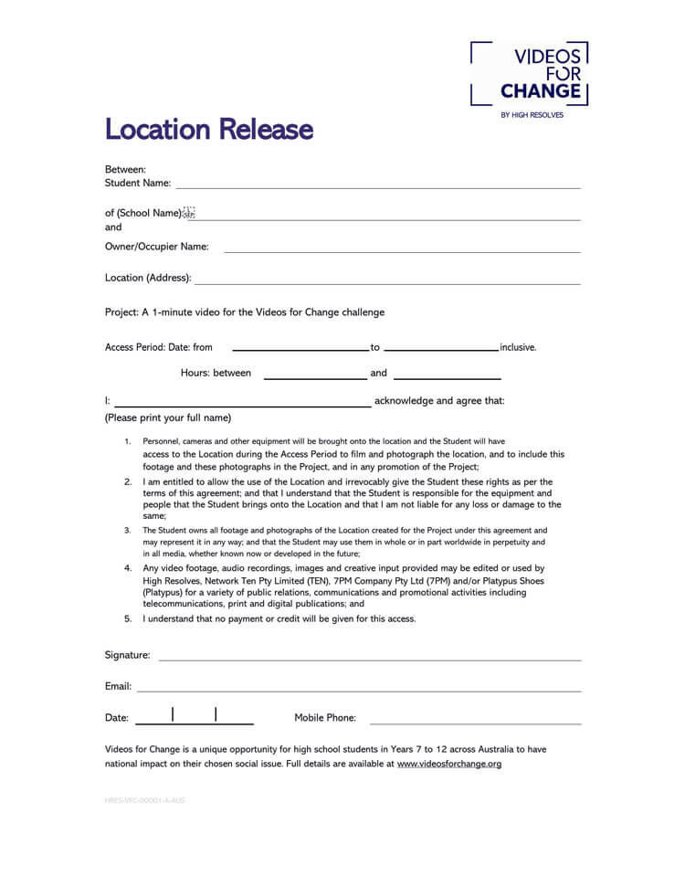 Film Location Release Form 29