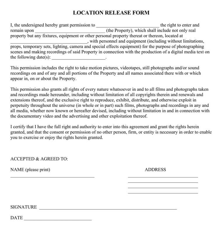 Film Location Release Form 30