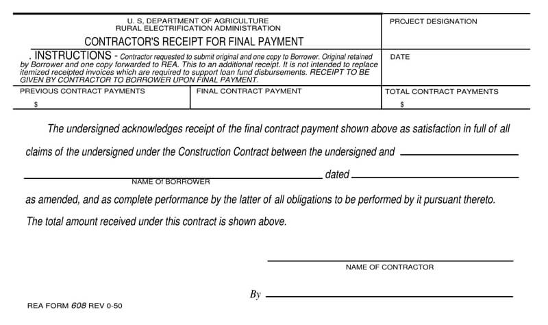 Final Contractor Payment Receipt