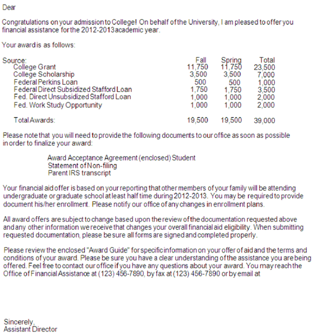 Financial Aid Award Letter 1