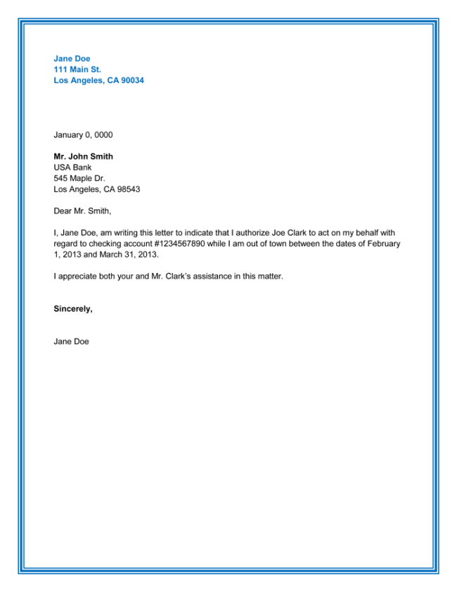 Financial Authorization Letter Sample