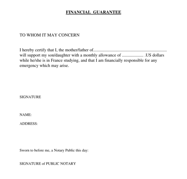 Financial Guarantee Letter 1