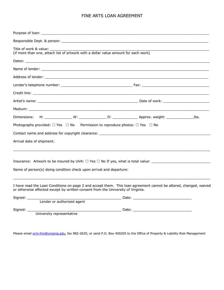 Fine Arts Loan Agreement Form