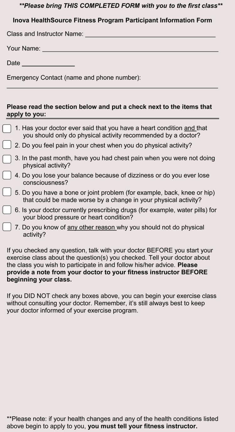 Fitness Medical Waiver Form sample