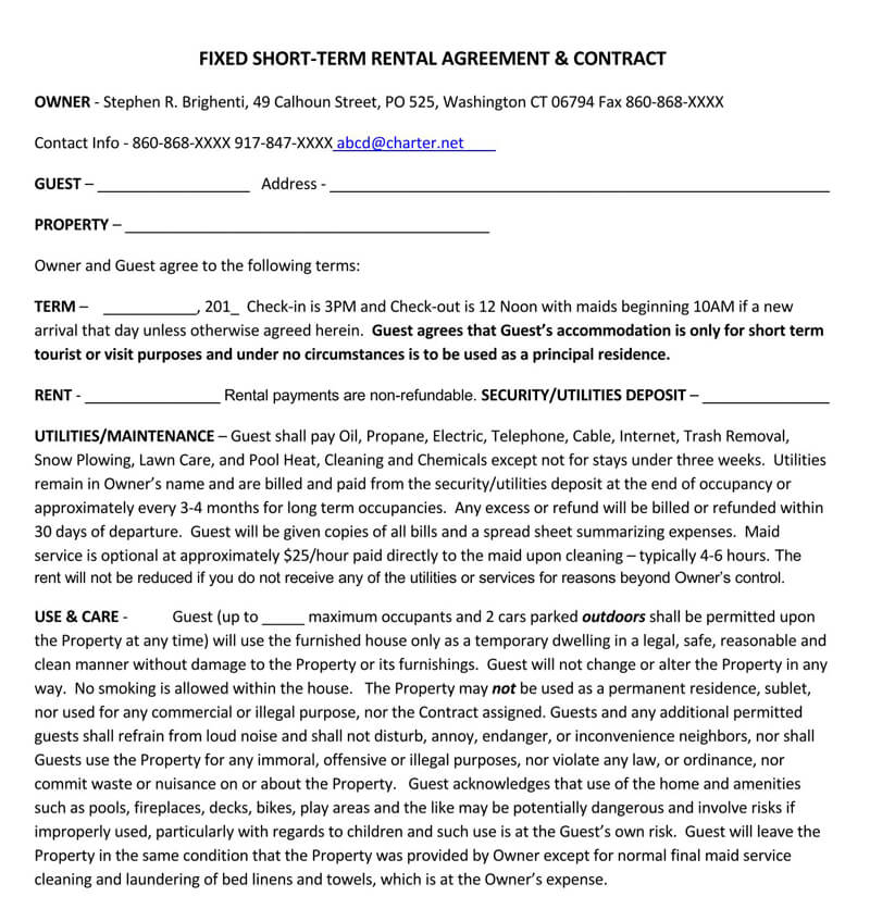 Fixed Short-Term Rental Agreement