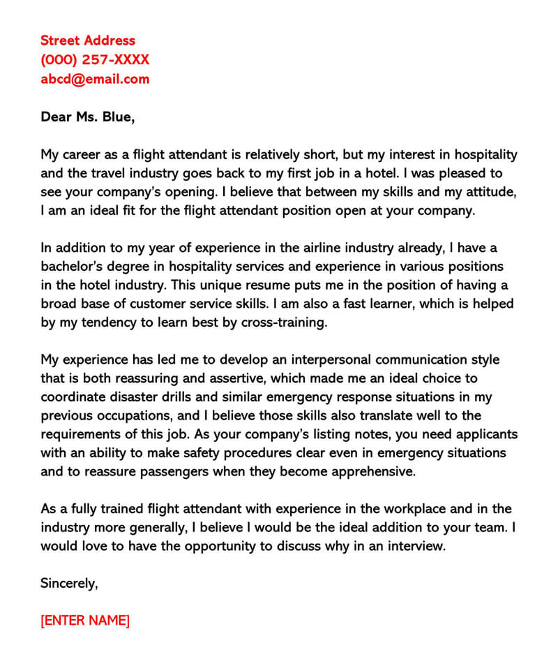 Flight Attendant Cover Letter Sample Letters Email Examples