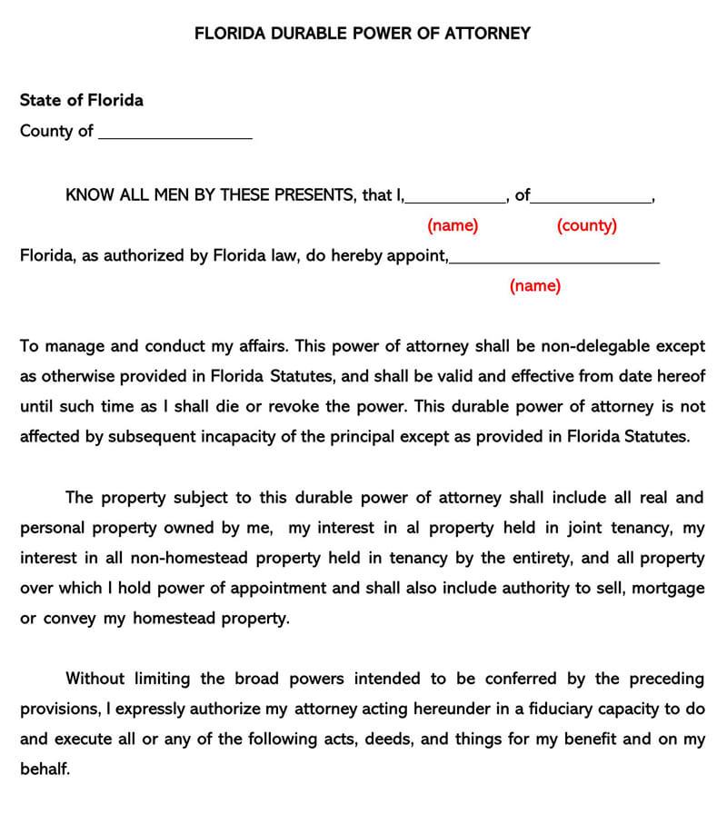 Florida Durable POA Form