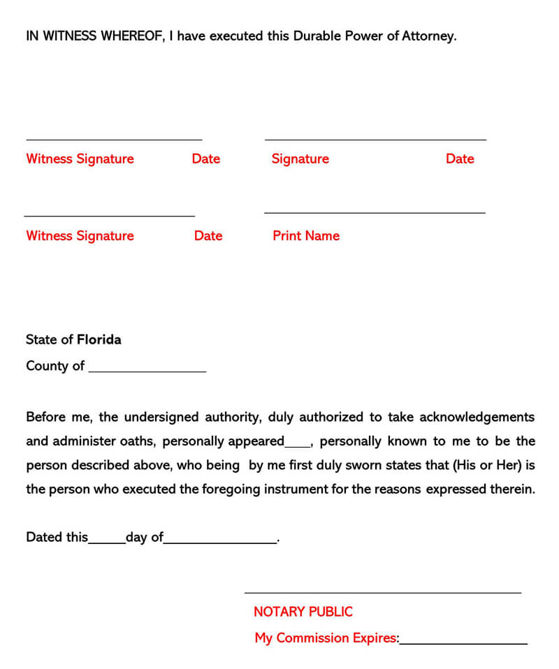 Florida Power of Attorney Form