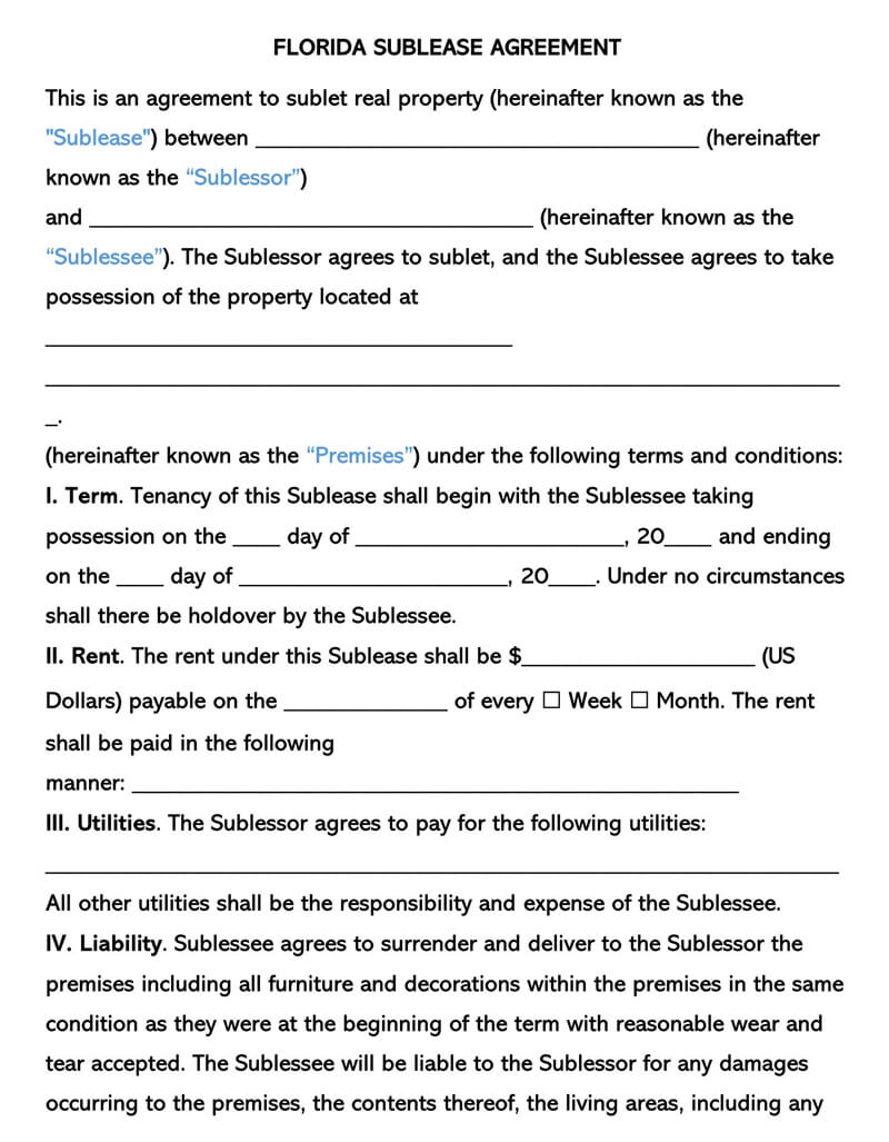 Florida SubLease Agreement Template