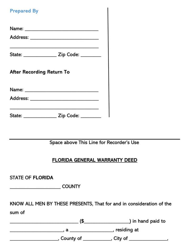 Florida Warranty Deed Form