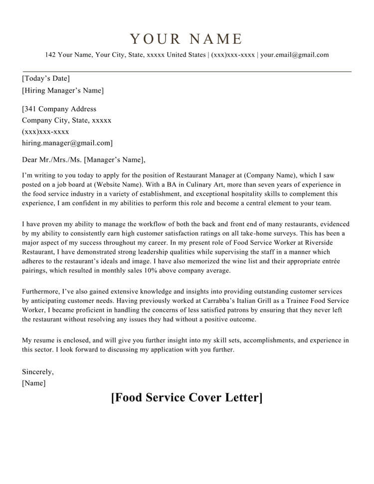 Food Service Cover Letter Sample