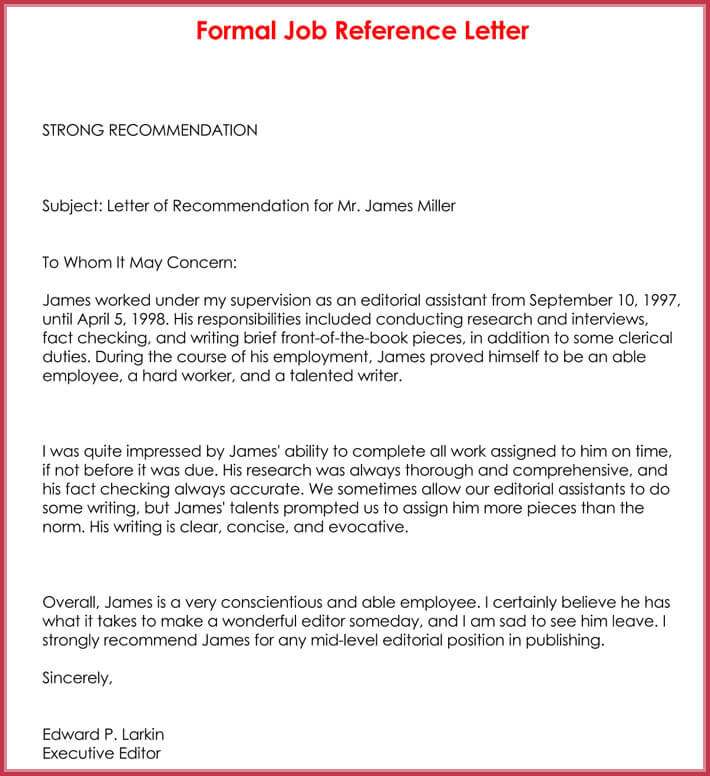 formal reference letter format  8  sample letters and