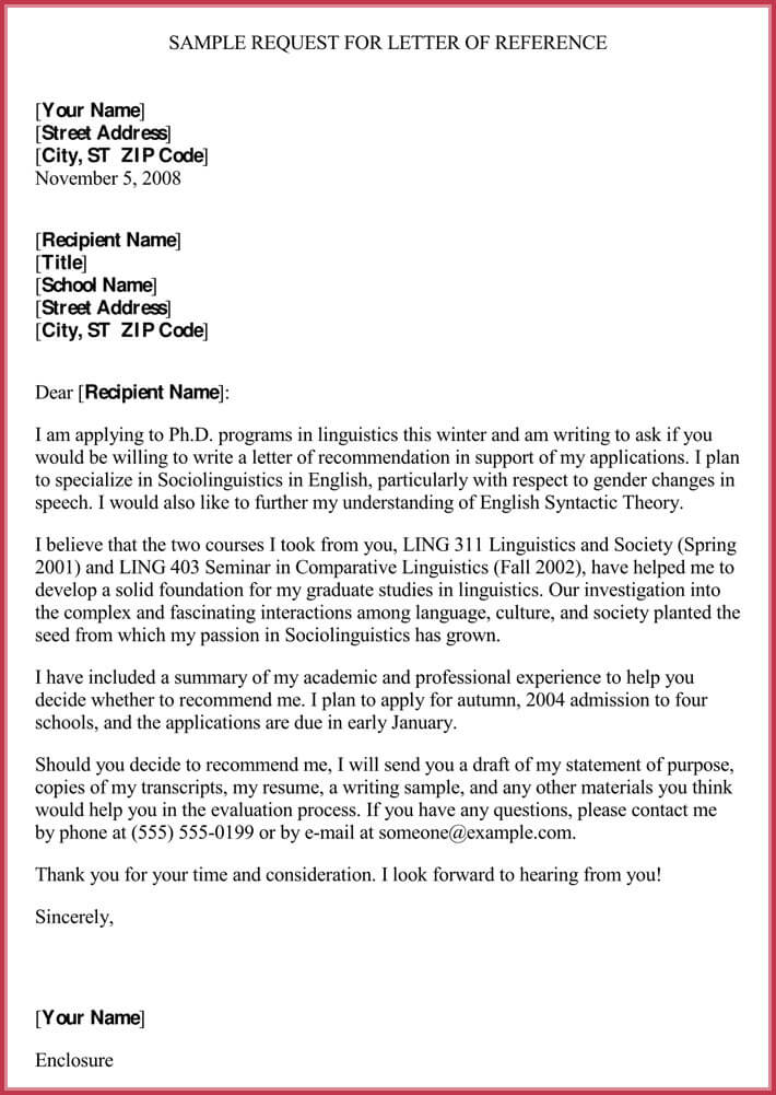 Formal Reference Letter Format 8 Sample Letters And Examples