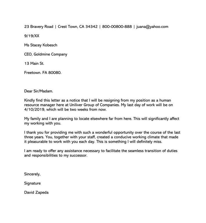Formal Resignation Letter Sample (Word Format)