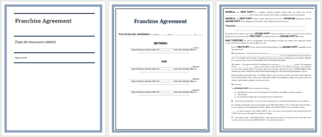 5 Franchise Agreement Templates to Write a Perfect Agreement – Sample Franchise Agreements