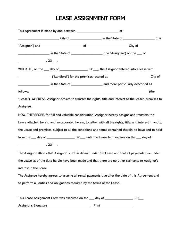 Free Assignment of Lease Form and Template for Word