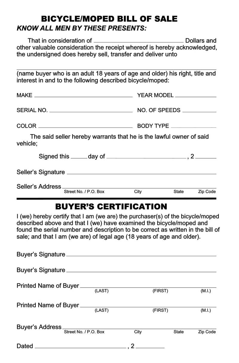 Free Bicycle Bill of Sale Form 02