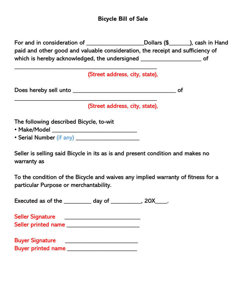 Bicycle Bill Of Sale Form Free Forms Templates