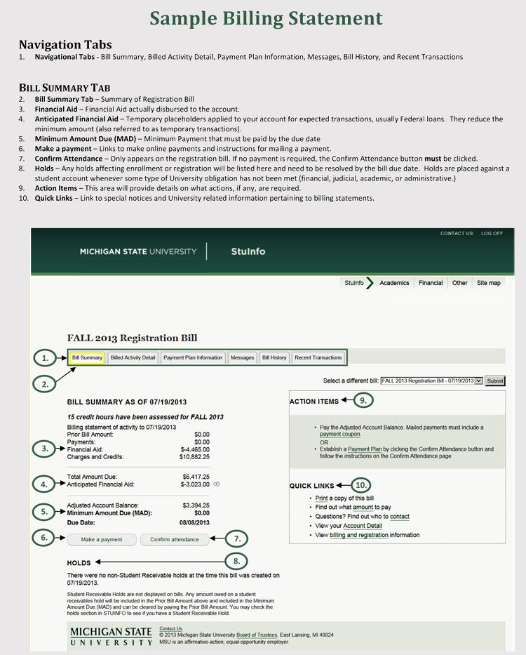 Sample of Billing Statement